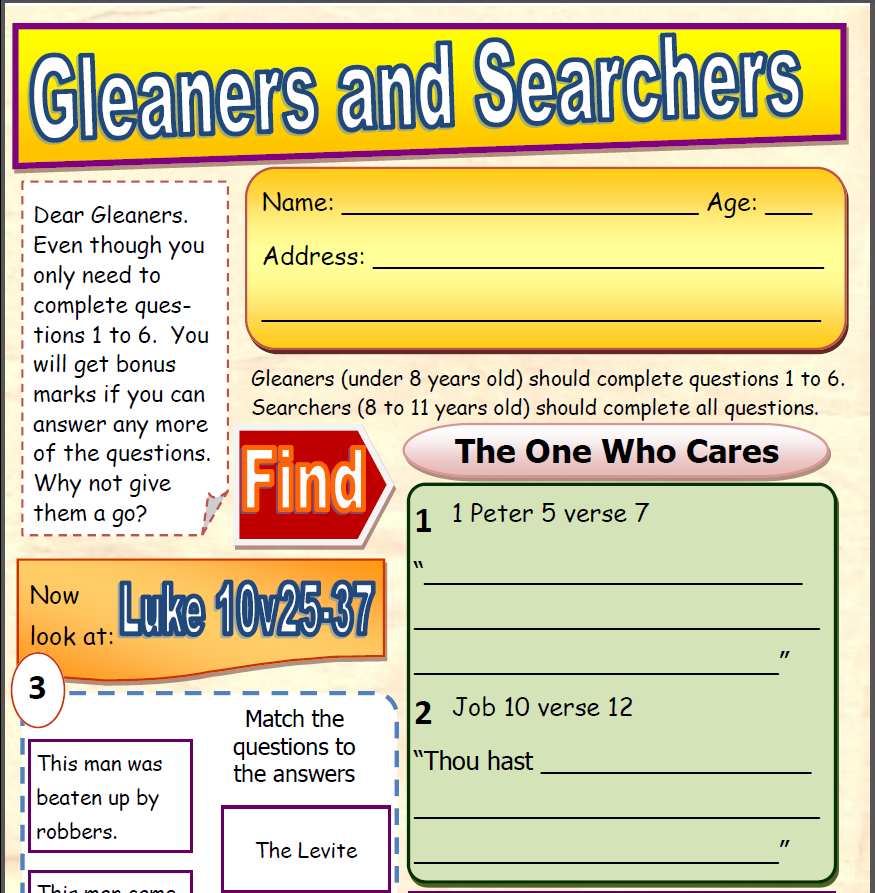 Gleaners & Searchers Question Page